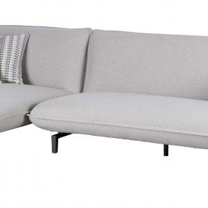 Woood 3-zitsbank 'Bow' met lounge links, kleur Lichtgrijs