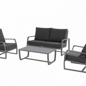 Mauritius stoel-bank loungeset 4-delig donker grijs aluminium