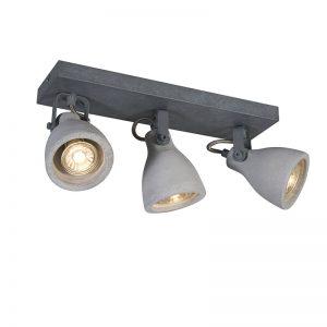 Industriele spot grijs beton 3-lichts - Creto