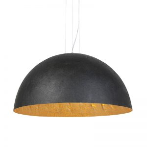 Moderne ronde hanglamp zwart met gouden binnenkant 90cm - Magna