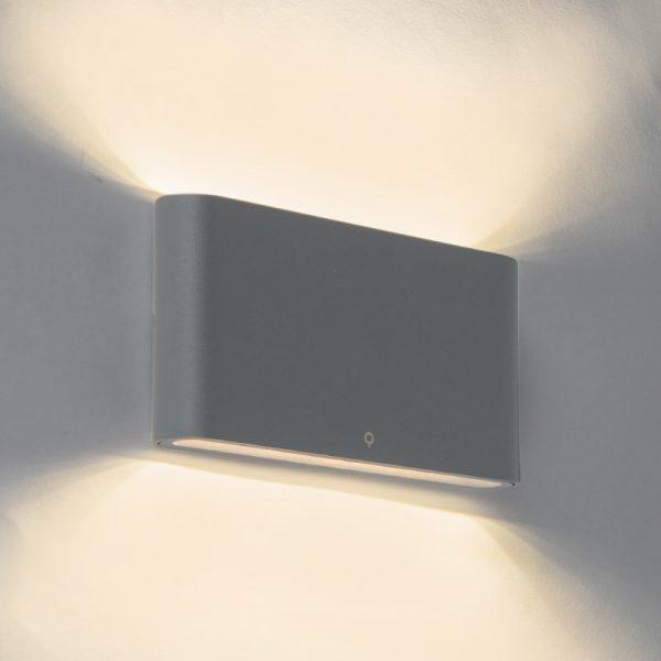 Moderne buitenwandlamp donkergrijs 17,5cm incl. LED - Batt