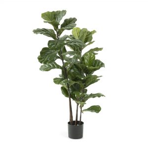Kave Home Kunstplant 'Zelena' Lyrata in zwarte kunststof pot