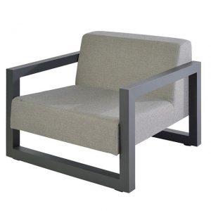Bergen lage fauteuil alu antraciet - Borek