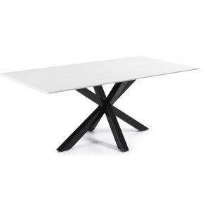 Kave Home Eettafel 'Argo' zwart / wit gelakt 200 x 100cm