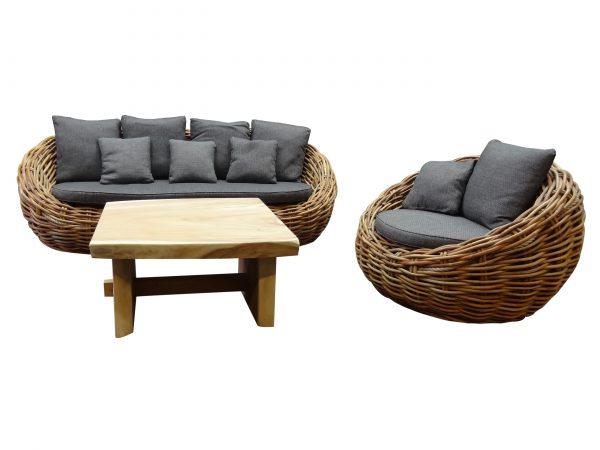 Sabuga ovaal stoel-bank loungeset 3-delig naturel rotan