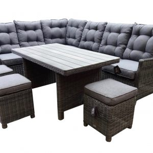 Dunham hoek dining loungeset 6-delig donker grijs vlechtwerk