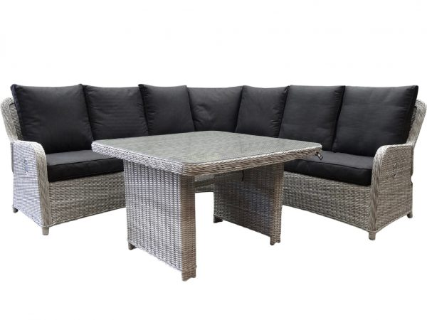 Bilbao XL hoek dining loungeset verstelbaar 4-delig wit grijs