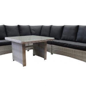 Bilbao XL hoek dining loungeset verstelbaar 5-delig wit grijs