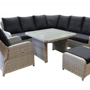 Bilbao XL hoek dining loungeset verstelbaar 6-delig wit grijs