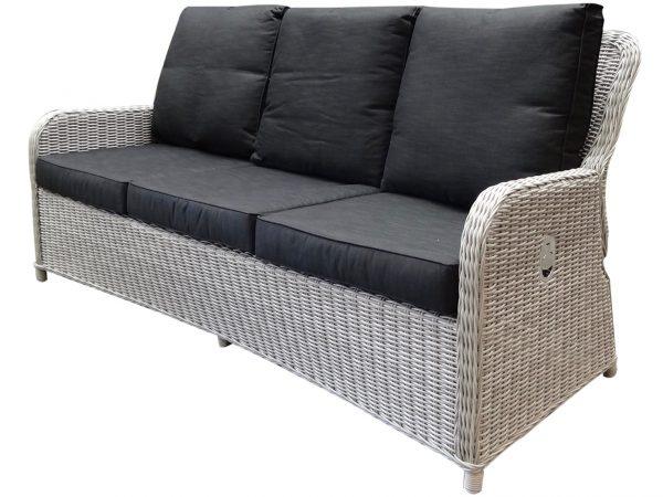 Bilbao XL 3-zitsbank verstelbaar wit grijs