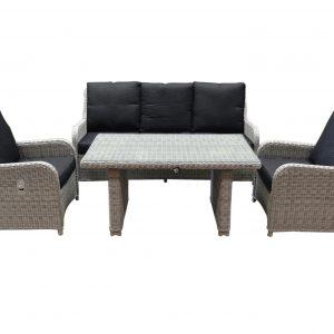 Bilbao XL stoel-bank dining loungeset verstelbaar 4-delig wit-grijs