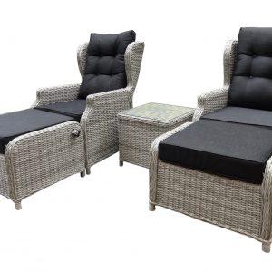 Toscane XL lounge balkonset verstelbaar 5-delig wit grijs