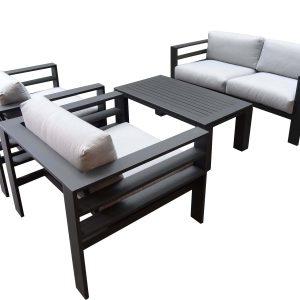 Almeria stoel-bank loungeset 4-delig zwart aluminium