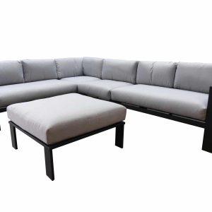 Almeria hoek loungeset 5-delig zwart aluminium