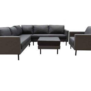 Sensoo hoek loungeset 5-delig antraciet textileen