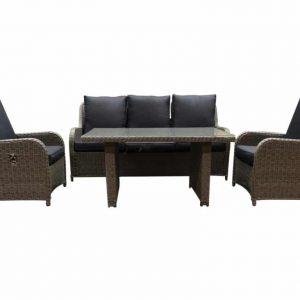 Bilbao XL stoel-bank dining loungeset verstelbaar 4-delig kobo-grijs