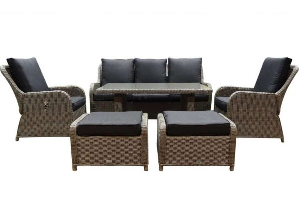 Bilbao XL stoel-bank dining loungeset verstelbaar 6-delig kobo-grijs