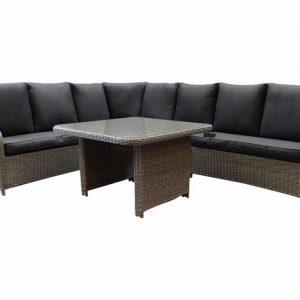 Bilbao XL hoek dining loungeset verstelbaar 5-delig kobo grijs