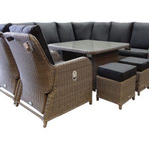 Bilbao XL hoek dining loungeset verstelbaar 8-delig kobo grijs