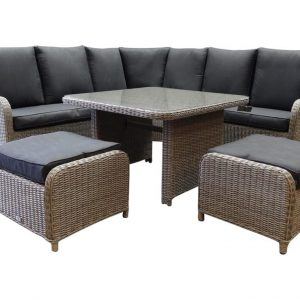 Bilbao XL hoek dining loungeset verstelbaar 6-delig kobo grijs