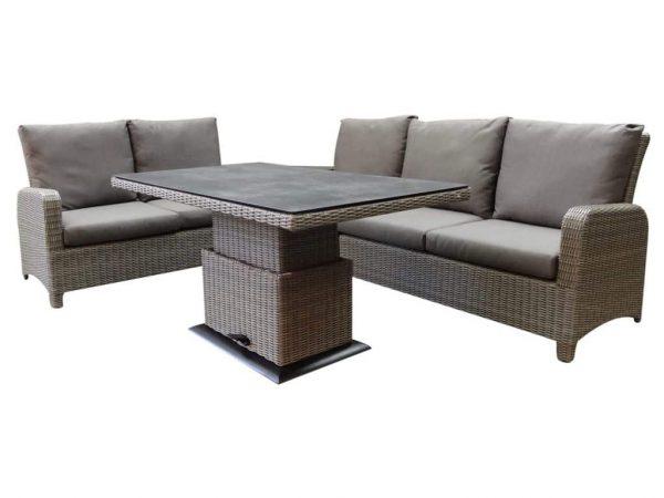 Florida hoek dining loungeset 5-delig verstelbare tafel bruin-grijs