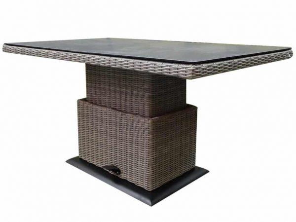 Florida lounge-diningtafel 140x85xH47-71 cm in hoogte verstelbaar bruin grijs