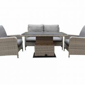 Miami stoel-bank dining loungeset 4-delig verstelbare tafel