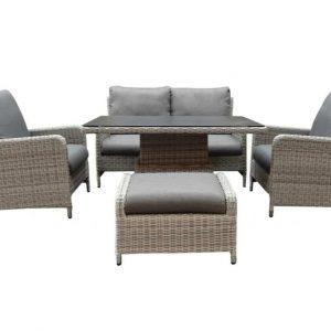 Miami stoel-bank dining loungeset 5-delig verstelbare tafel
