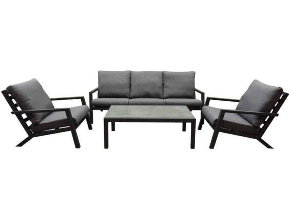 Malaga stoel-bank loungeset 4-delig antraciet aluminium