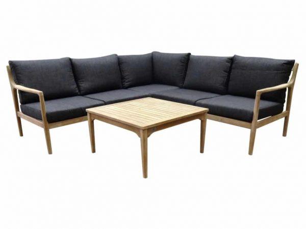 Manchester hoek loungeset 4-delig acacia zwart