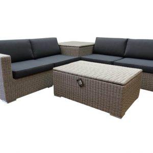 Saba hoek loungeset 4-delig met opbergboxen kobo grijs