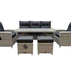 San Marino stoel-bank dining loungeset 6-delig verstelbaar wit grijs