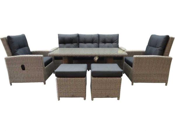 San Marino stoel-bank dining loungeset 6-delig verstelbaar kobo grijs