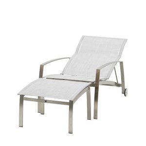 Deckchair met voetenbank Summit RVS-Asgrijs 4 Seasons Outdoor