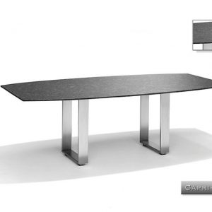 Nvt Eettafel-Tuintafel 220 x 110 x 75 cm Capri Ton - RVS-Natuursteen - Pearl Grey Satinado - Studio 20