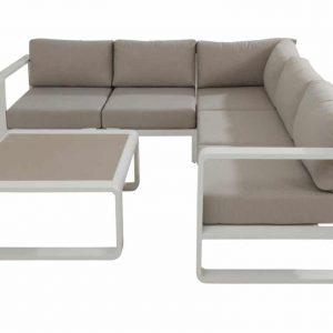 Escape hoek loungeset 4-delig wit aluminium