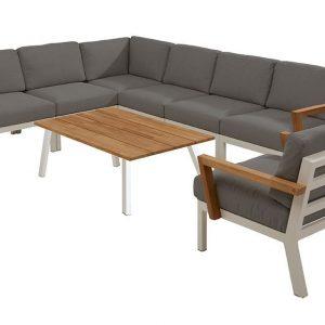 4 Seasons Outdoor Hoekbank Byron met Loungestoel Wit 4SO