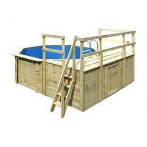 Houten zwembad model 1 D 400 x 480 cm - Karibu