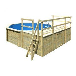 Houten zwembad model 2 D 470 x 550 cm - Karibu