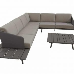 Lake hoek loungeset 5-delig middengrijs aluminium