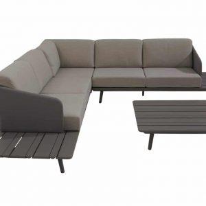 Lake hoek loungeset 4-delig middengrijs aluminium