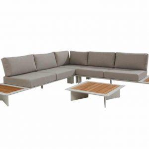 Lovina hoek loungeset 4-delig wit aluminium
