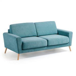 Kave Home driezitsbank 'Narnia', kleur turquoise