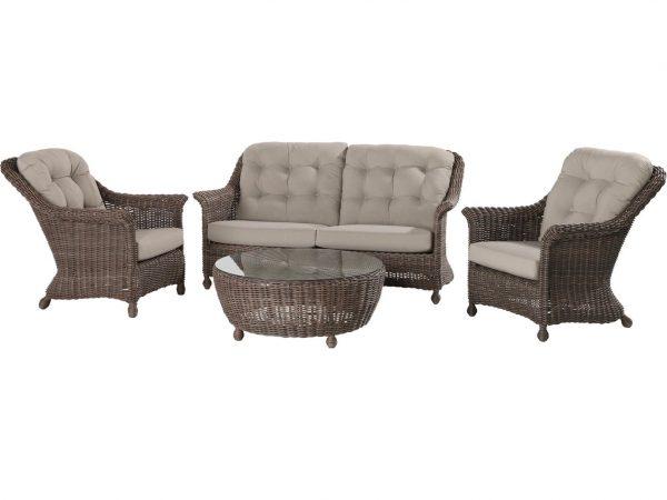 Madoera stoel-bank loungeset 4-delig bruin