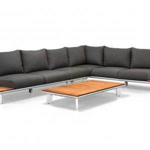 Denver hoek loungeset 3-delig wit aluminium + donker grijze kussens