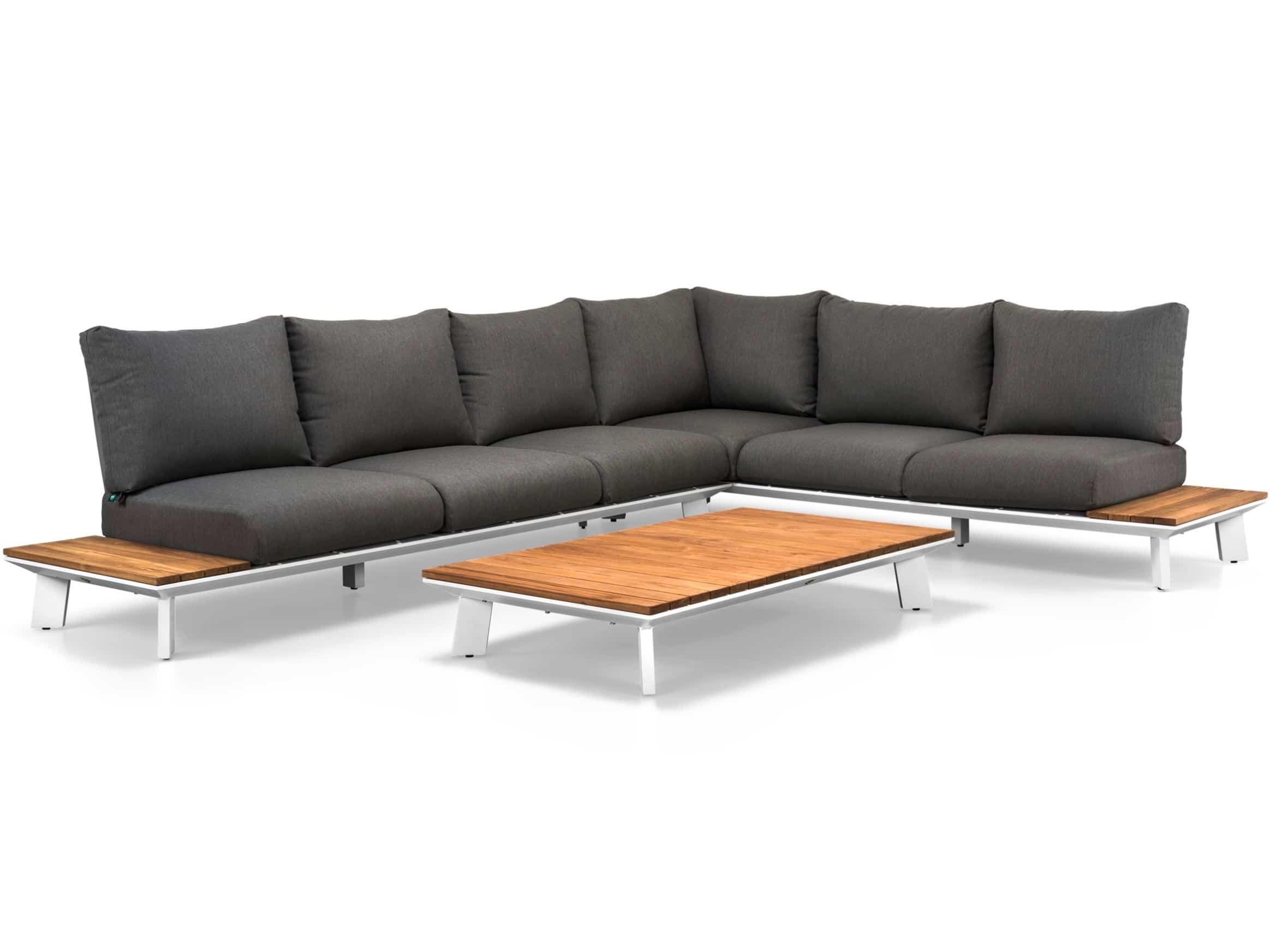 Kussen Wit 12 : Denver hoek loungeset 3 delig wit aluminium donker grijze kussens