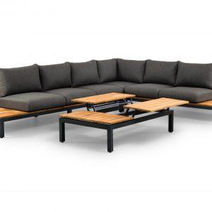 Memphis hoek loungeset 4-delig zwart aluminium + donker grijze kussens