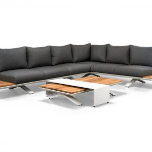 Stockholm hoek loungeset 4-delig teak - antraciet aluminium