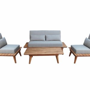 Butterfly stoel-bank loungeset 4-delig acacia taupe