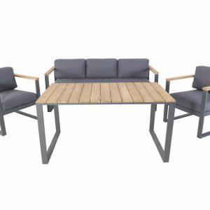 Melton stoel-bank dining loungeset aluminium antraciet